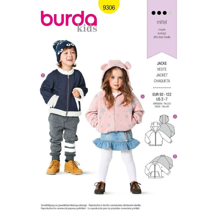 Burda Style Pattern 9306 Children's Jackets, Blouson Style, Front Zipper, Hoodie or Round Neck