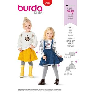 Burda Style Pattern 9307 Children's Skirts, Flared, Pull-On, with Trim and Strap Options