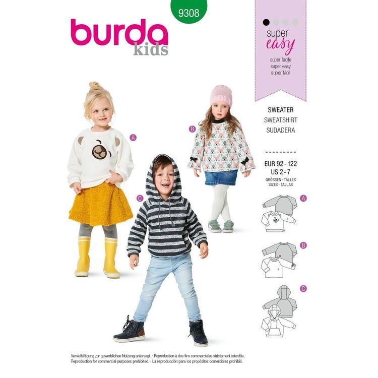 Burda Style Pattern 9308 Children's Hoodie and Sweatshirt Tops, Sleeve, Trim and Pocket Variations