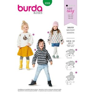 Burda Style Pattern 9308 Children's Hoodie and Sweatshirt Tops, Sleeve, Trim and Pocket Variations