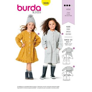 Burda Style Pattern 9309 Children's Dresses, Buttons at Front, with Trim and Pocket Variations