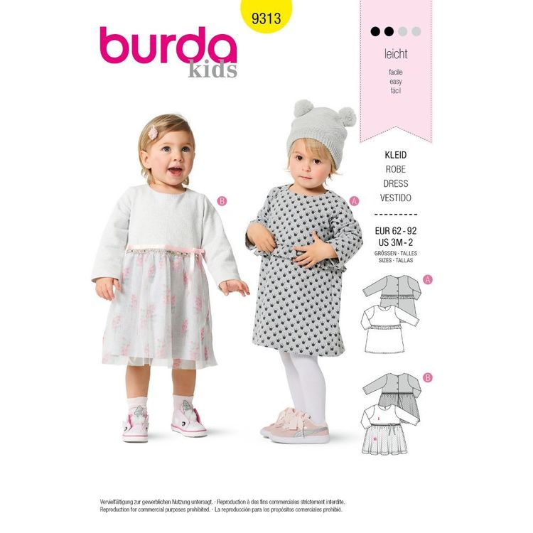 Burda Style Pattern 9313 Toddlers' Dresses, Pull-On with Trim Variations 3 Months - 2 Years