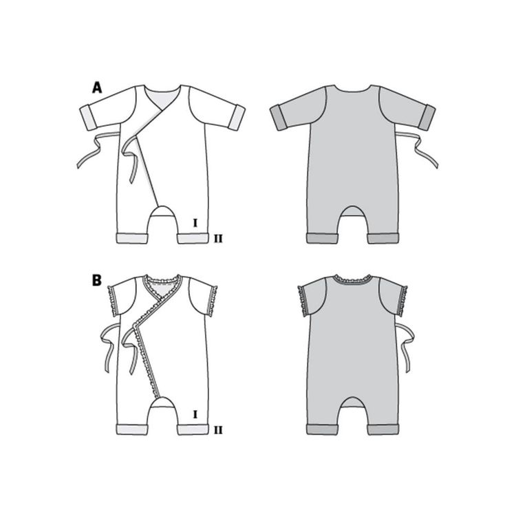 Burda Style Pattern 9314 Babies' Jumpsuit or Romper, with Side Tie Fastening 1 - 18 Months