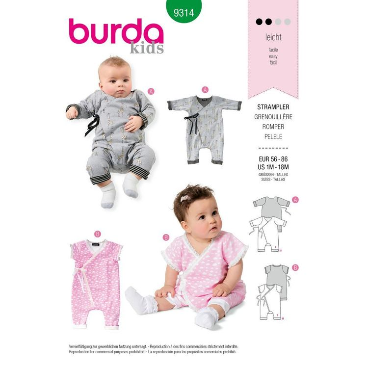 Burda Style Pattern 9314 Babies' Jumpsuit or Romper, with Side Tie Fastening