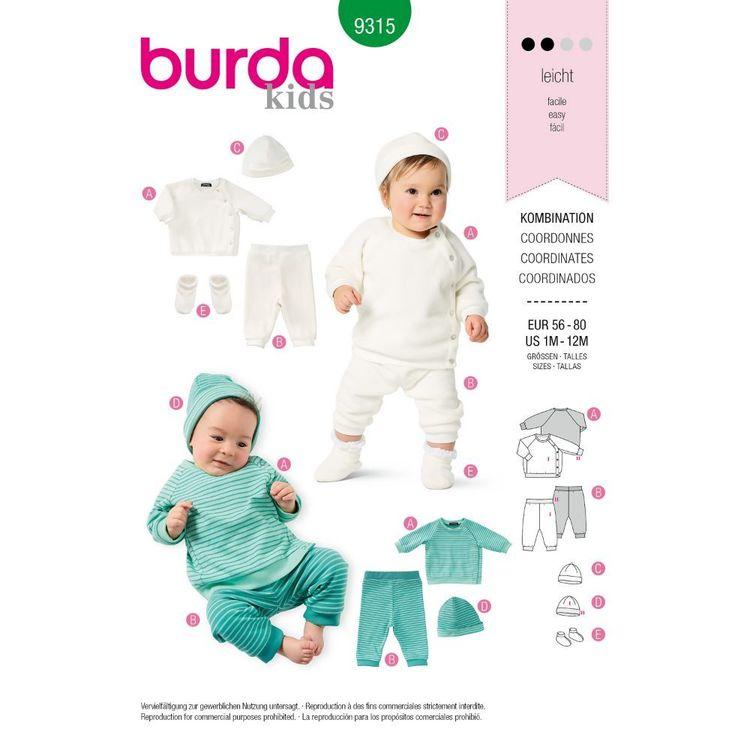 Burda Style Pattern 9315 Babies' Coordinates Wardrobe, Top, Pants, Hat and Bootees