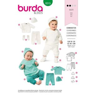 Burda Style Pattern 9315 Babies' Coordinates Wardrobe, Top, Pants, Hat and Bootees