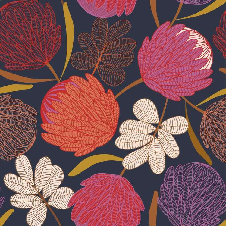 Jocelyn Proust Protea Printed Montreaux Drill 112 cm Fabric