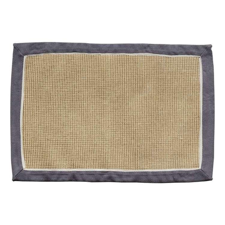 Koo Home Mitch Panel Jute Scatter Mat Charcoal 60 x 90 cm