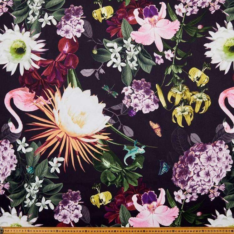 Jade Floral Printed Canvas
