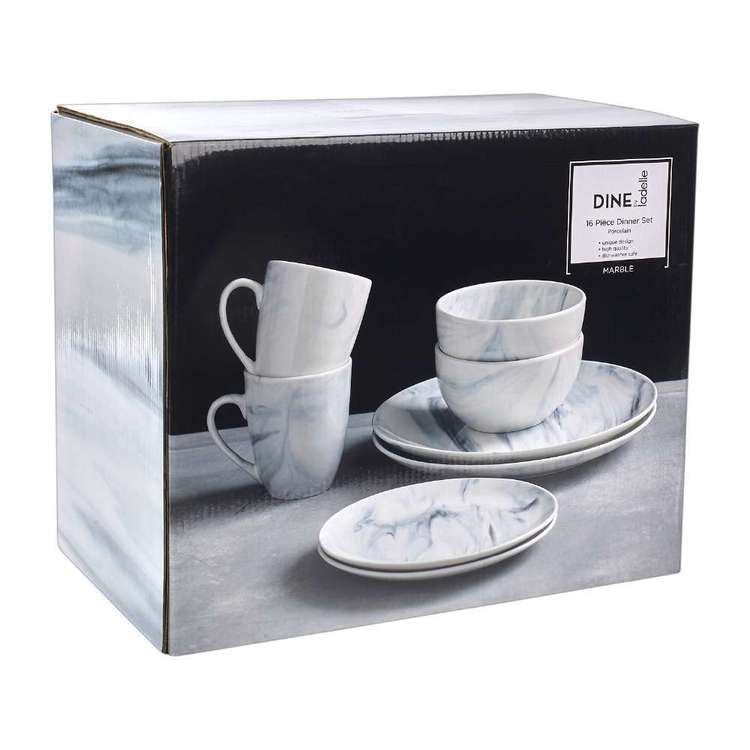Dine By Ladelle Pinto Marble 16 Piece Dinner Set