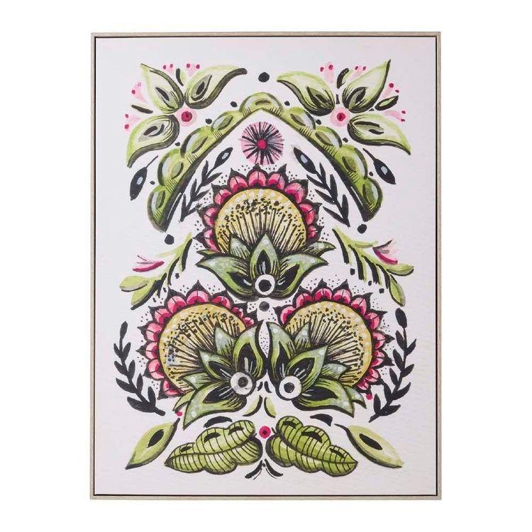 Tag Eclectic Treasures Folk Floral #1 Framed Canvas Print
