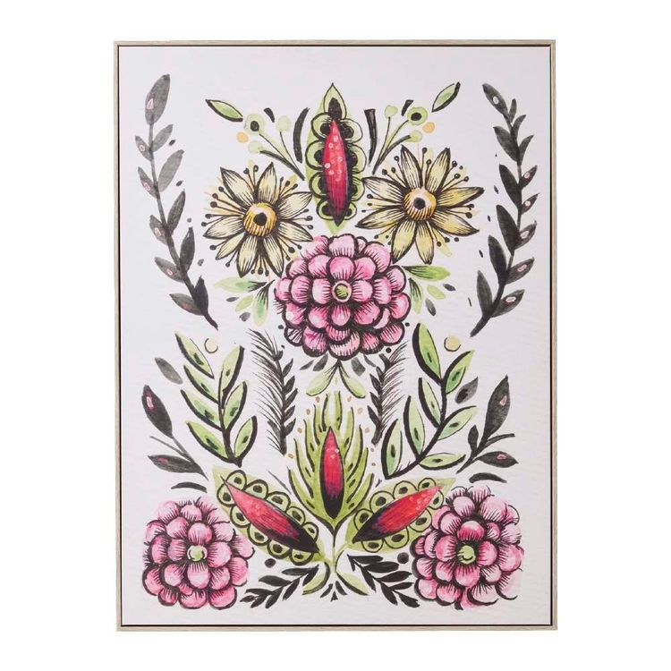 Tag Eclectic Treasures Folk Floral #11 Framed Canvas Print