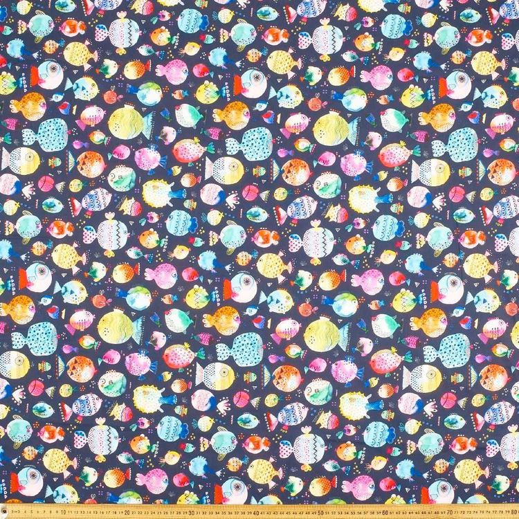 Ninola Pufferfish Cotton Fabric Multicoloured & Black 112 cm
