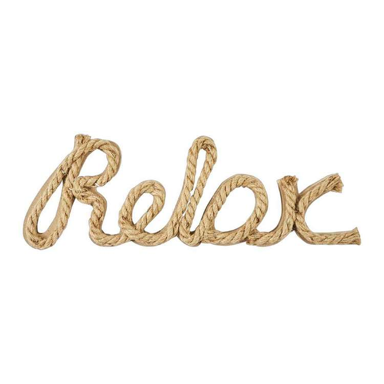Ombre Home Weathered Coastal Relax Typo Rope Sign