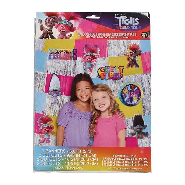 Amscan Trolls World Tour Deluxe Decorating Backdrop Kit