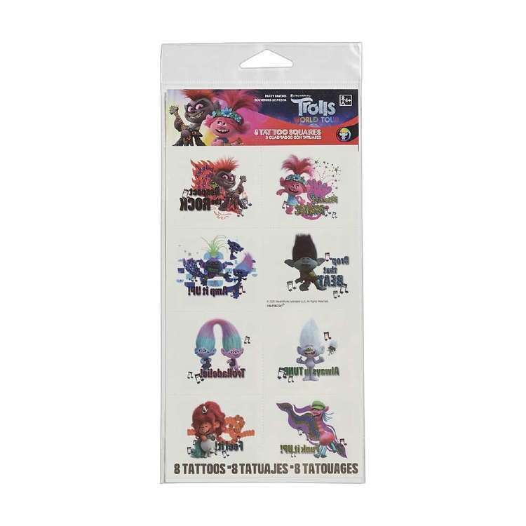 Amscan Trolls World Tour Metallic Tattoos