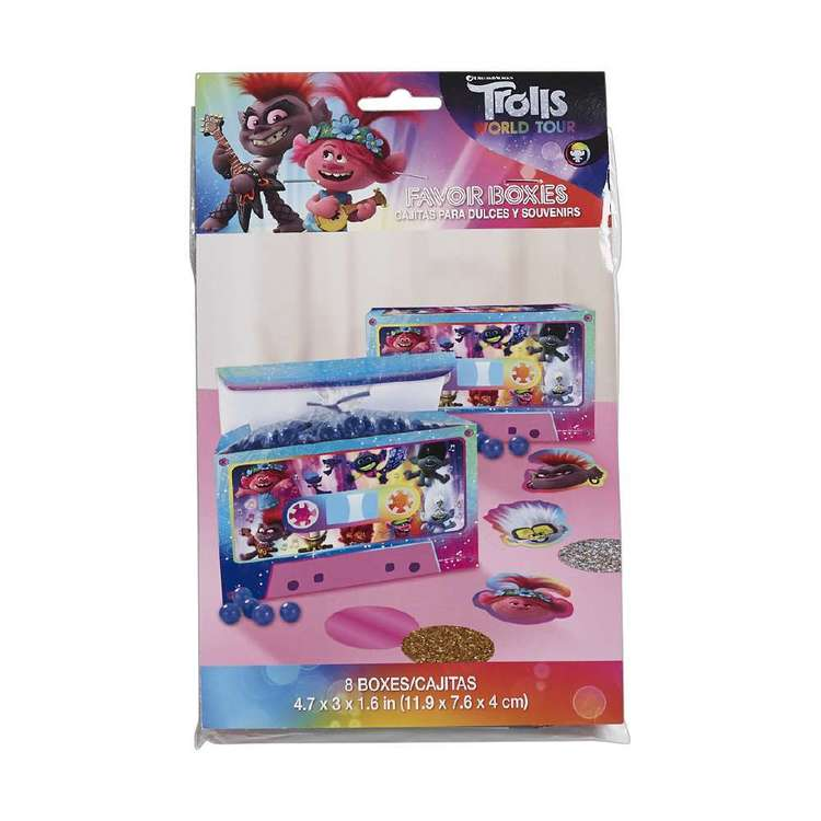 Amscan Trolls World Tour Favour Boxes 8 Pack