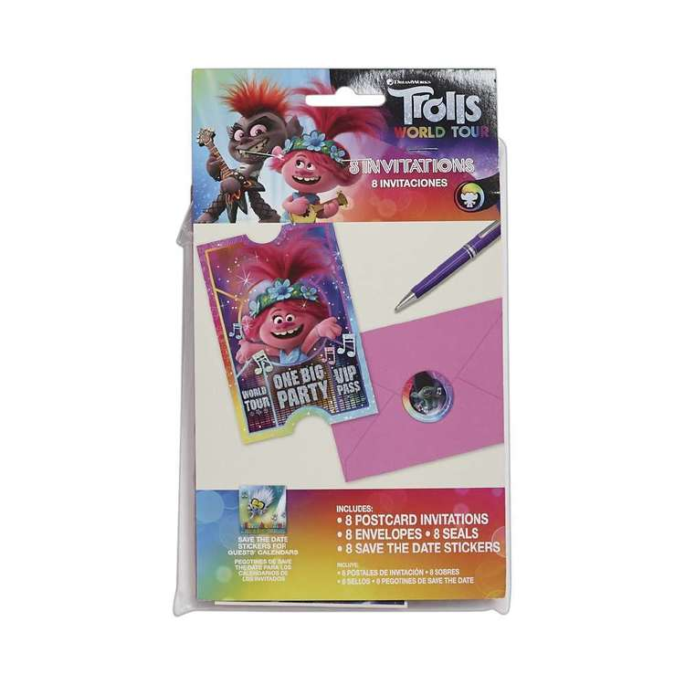 Amscan Trolls World Tour Postcard Invitations 8 Pack