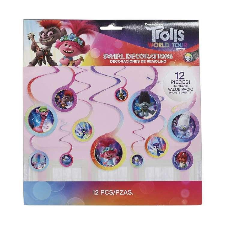 Amscan Trolls World Tour Swirl Decoration Value Pack