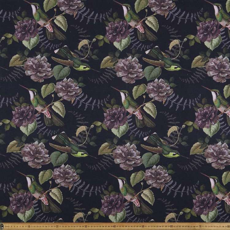 Aviary Printed Canvas Plum 150 cm