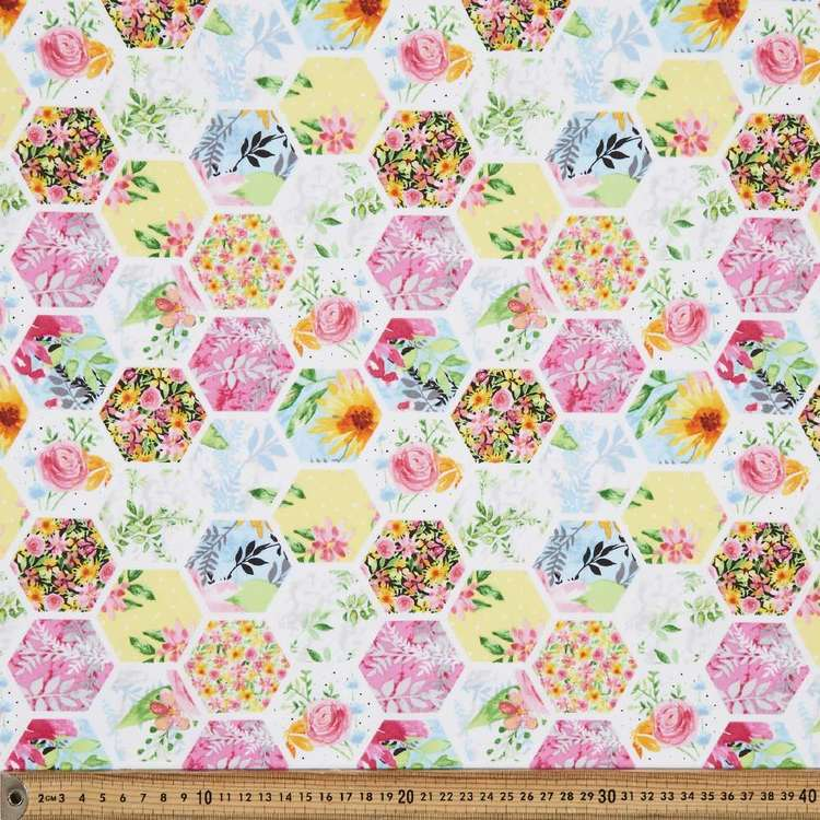 Studio E Boho Bouquet Hexagon Floral Cotton Fabric