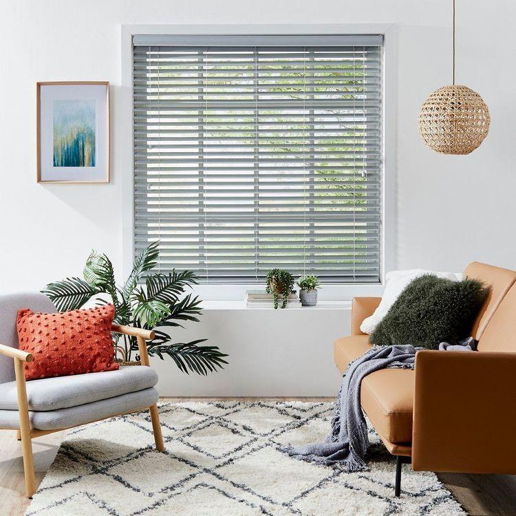 Windowshade 50mm Grey Faux Wood Venetian Blind