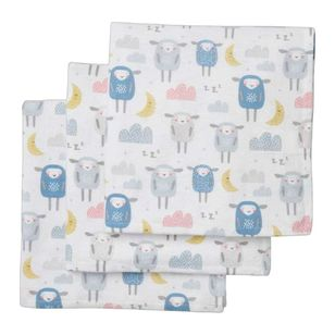 KOO Baby Flannelette Sheep Wraps 3 Pack