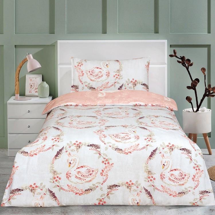 Kids House Flannelette Swan Quilt Cover Set
