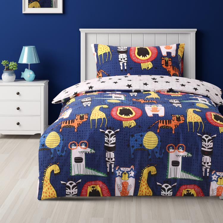 Kids House Animal Kingdom Flannelette Quilt Cover Set
