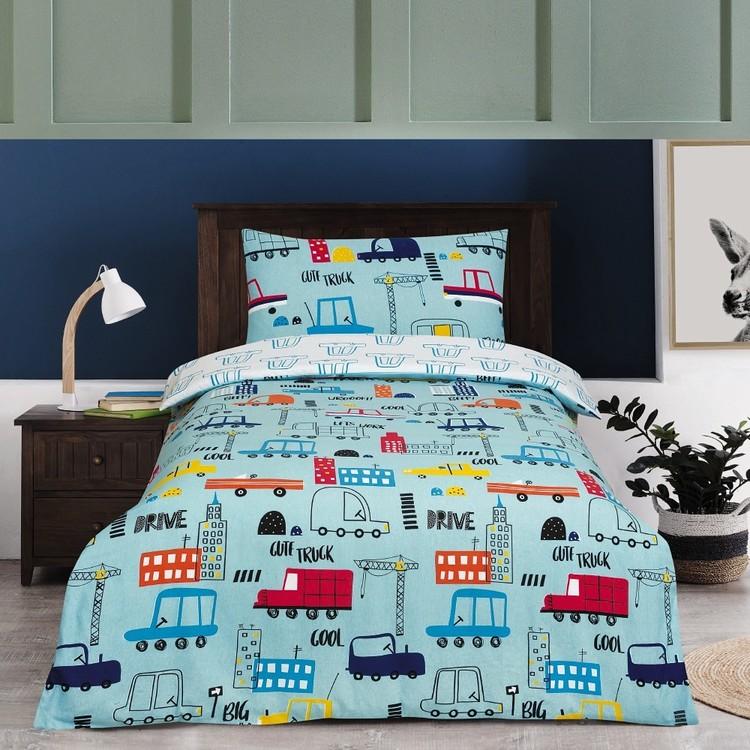 Kids House Flannelette Car Quilt Cover Set
