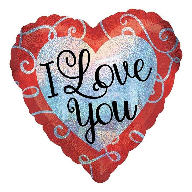 Anagram Holographic Sparkle Heart I Love You Foil Balloon