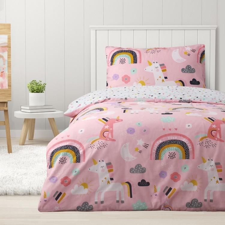 Kids House Flannelette Unicorn Quilt Cover Set