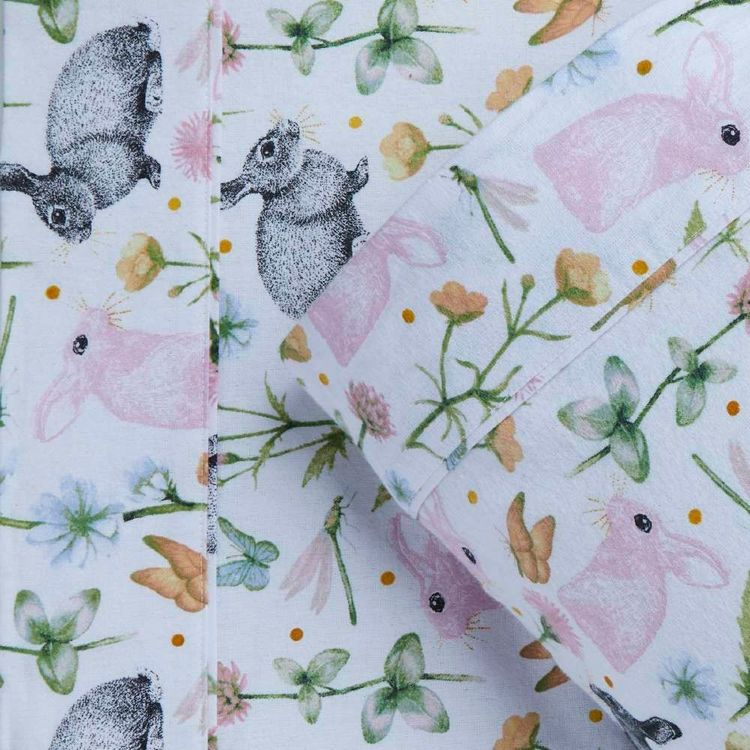 Kids House Flannelette Bunny Sheet Set