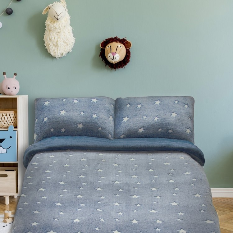 Kids House Glow in the Dark Teddy Star Quilt Cover Set