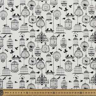 Bird Cage Printed 148 cm Cotton Spandex Fabric