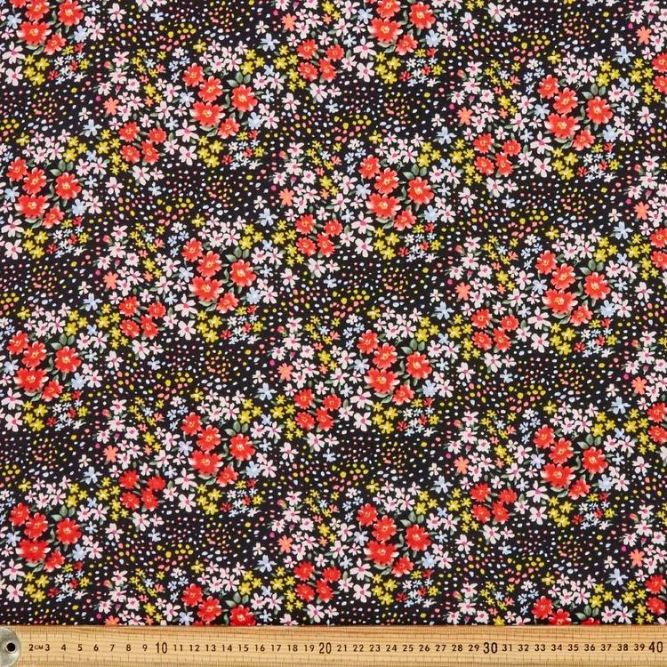 Spot Floral Printed Country Garden TC 112 cm Fabric Black 112 cm