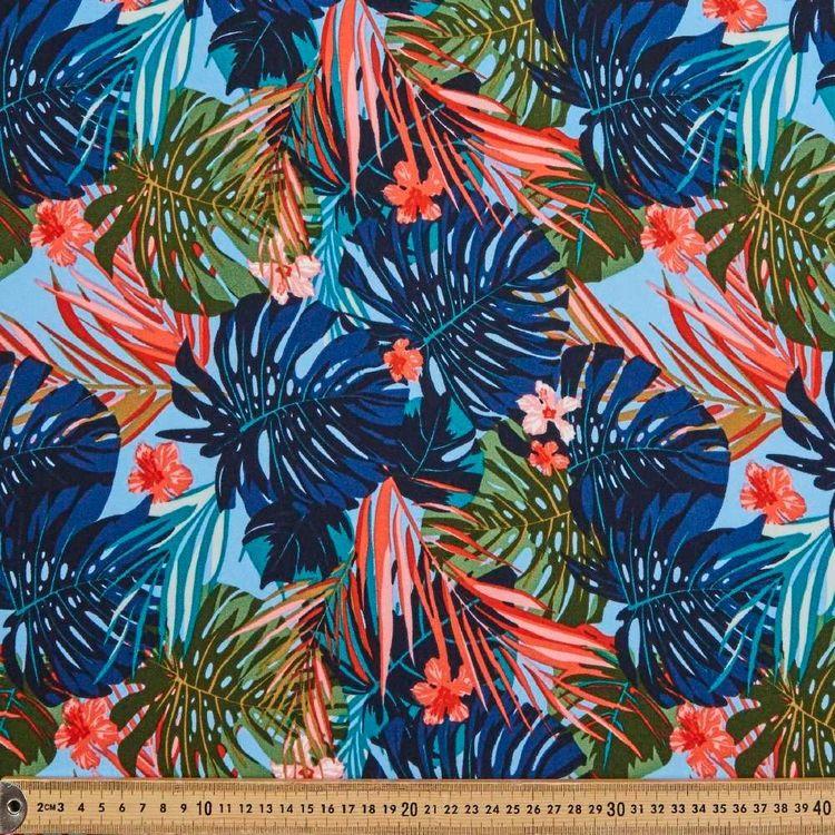 Tropical Printed 145 cm Oriental Slub Crepe Fabric