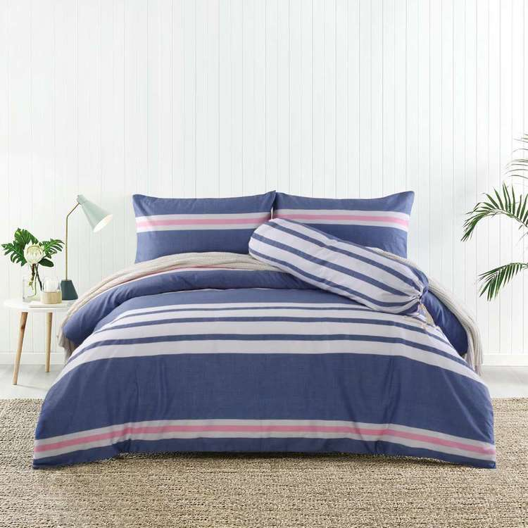 KOO Dax Stripe Cotton Bolster Quilt Cover Set