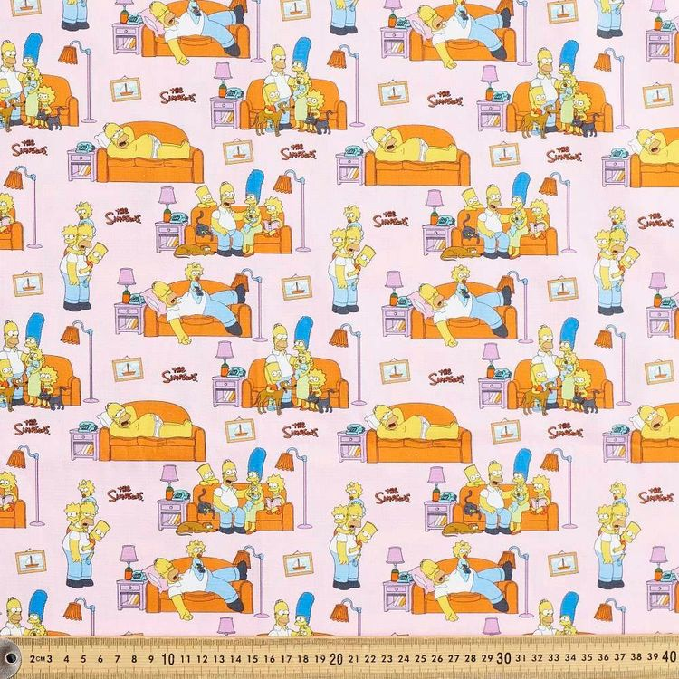 The Simpsons Living Room Cotton Fabric