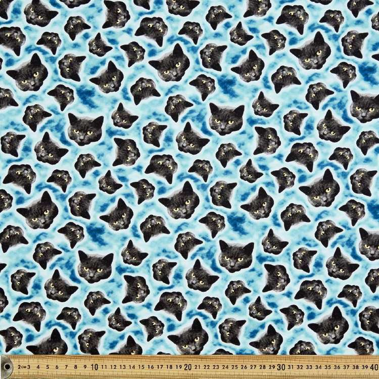 Glow In The Dark Black Cats Cotton Fabric