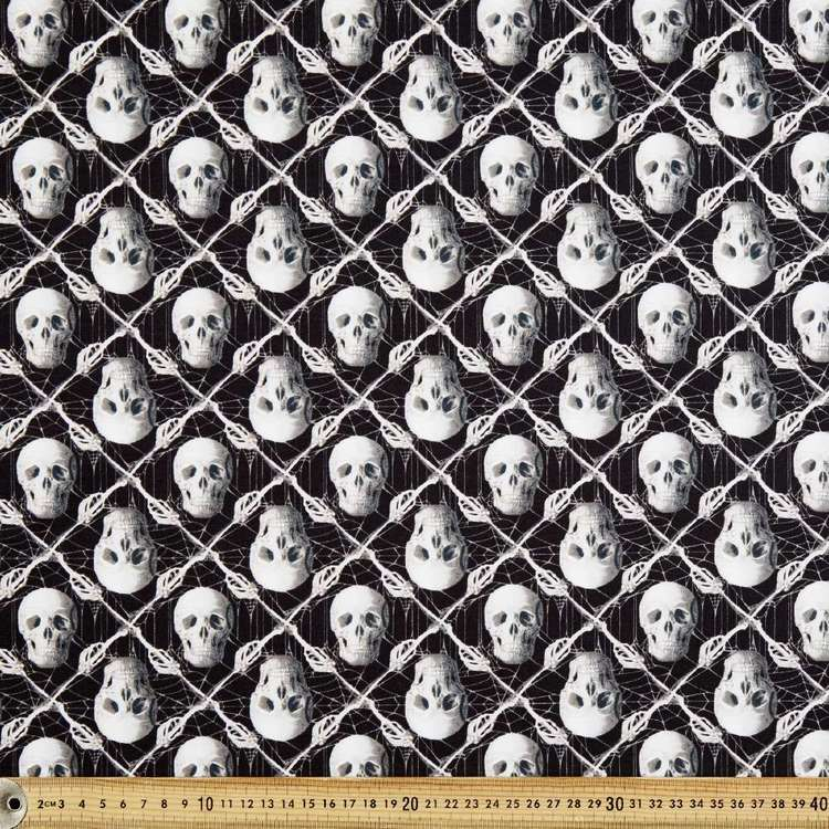 Glow In The Dark Skulls Cotton Fabric