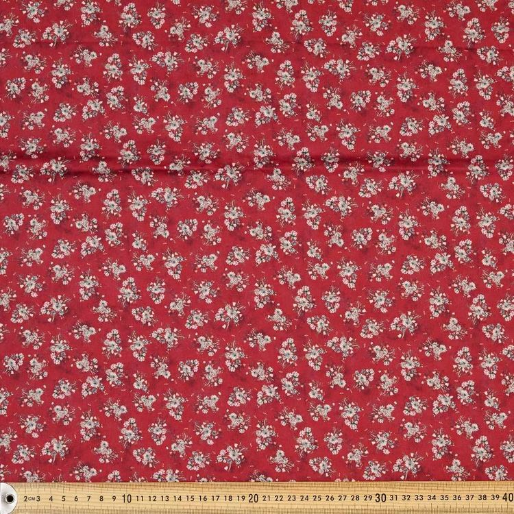 Red Posy Digital Printed 142 cm Cotton Sateen Fabric