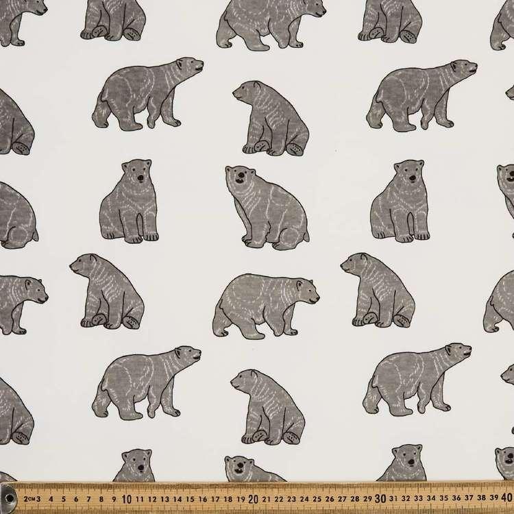 Polar Bear Printed 145 cm French Fleecy Polar Fleece Fabric