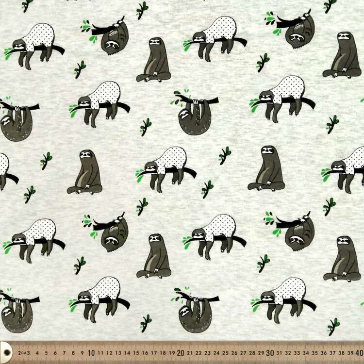 Sloth Printed 145 cm French Fleecy Fabric
