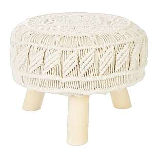 Ombre Home Weathered Coastal Macrame Footstool