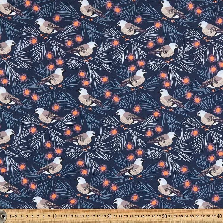 Jocelyn Proust Digital Black-Throated Finch Cotton Fabric