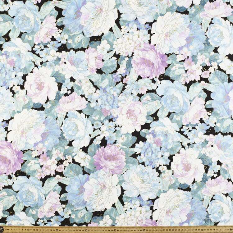 Peonies Tossed Floral Cotton Fabric