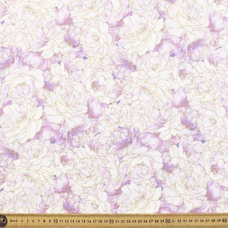 Large Peonies Allover Cotton Fabric