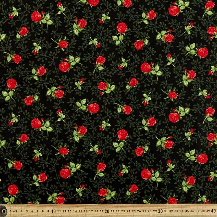 Red Rose Stems Cotton Fabric