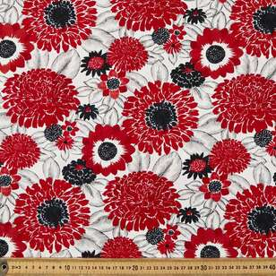 Large Flowers Cotton Fabric